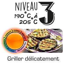 Niveau 3 : 190°C à 205°C | Griller délicatement